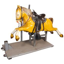 Child's riding horse, now is free play but was made to be coin-operated, composition, VG working con