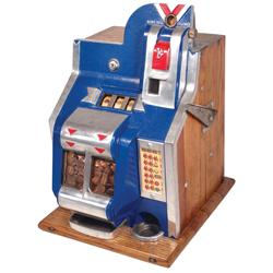 "Coin-operated slot machine, Mills QT, 1 Cent, c.1930's, VG orig working cond, 19""H."