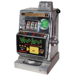 Coin-operated slot machine, Wild Aces, 10 Cent, mfgd by Aristocrat, mechanical machine in chromed me
