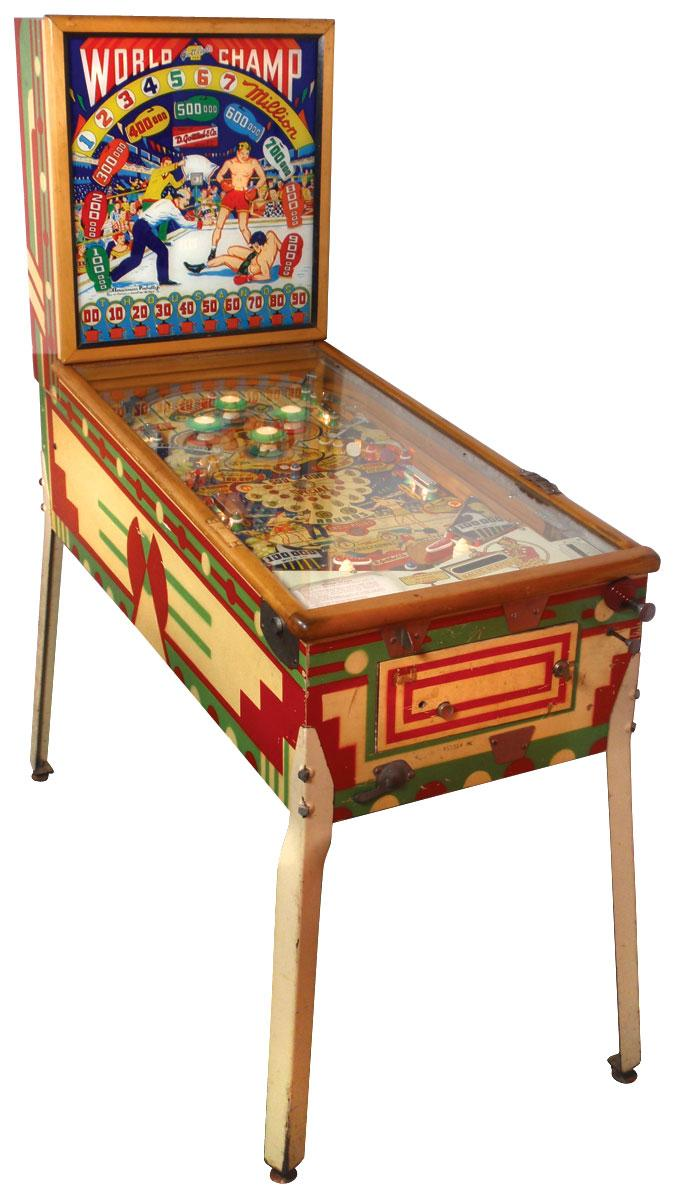 Coin Operated Pinball Machine World Champ W Boxing Scene Gottlieb 25 Cent Working Cond Back Gla