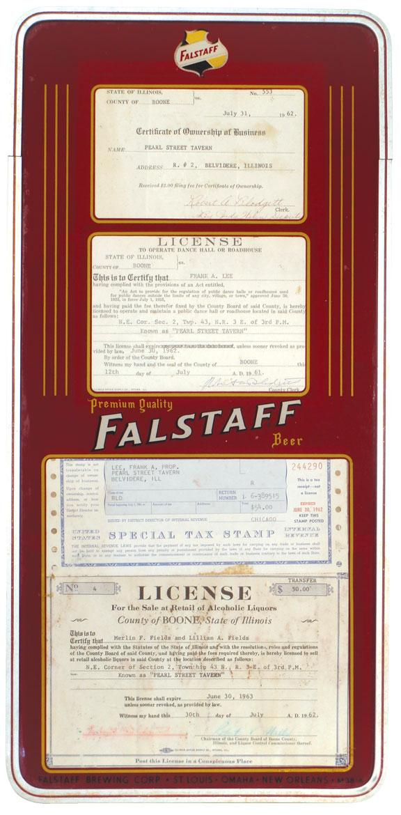 Breweriana, Falstaff Beer license frame w/1960\'s licenses for the ...