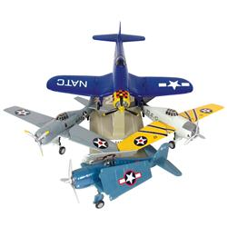 Prototype Gearbox Limited Edition Navy airplanes (4), painted cast metal, one w/display stand, all i