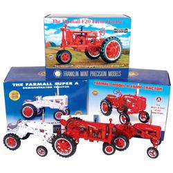 Farm toys, (3) Franklin Mint tractors, Farmall A Demonstration Model No. 1081/5000, Farmall A & Farm