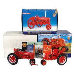Farm toys, (3) Franklin Mint tractors, IH H w/steel wheels, Case SC & Farmall H w/rubber wheels.