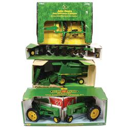 Farm toys (5), all Ertl John Deere toys, disc w/box, 50th Ann. Collector Set plows, 9600 combine/pic
