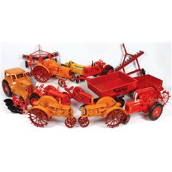 Farm toys (15), Scale Models red plastic gravity wagon, Scale Models 2-row disc, Ertl 2-row disc, Sc