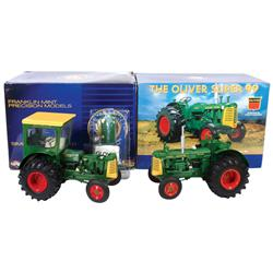 Farm toy, Oliver Super 99 Tractor w/Cab, 1:12 scale die-cast replica by Franklin Mint, hand painted,