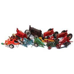 Farm toys (10), blue Arcade planter, green/yellow Arcade picker, orange Arcade Oliver 2-bottom plow,