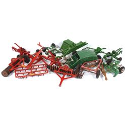 Farm toys (12), Oliver 2-bottom plow, red mower & disk, green Arcade mower #9826, green silage cutte
