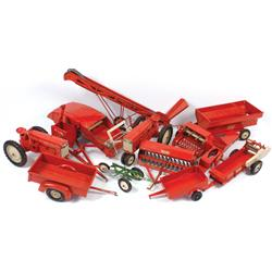 Farm toys (10), Tru-Scale auger, combine, 2-bottom plow, silage cutter, (2) tractors, grain drill (m