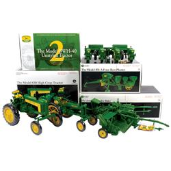 Farm toys (4), Ertl Precision Classics 214-T baler, Ertl JD Model 494-A 4-row planter, JD 630 High C