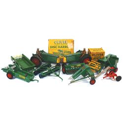 Farm toys (9), all Oliver, Grain Master, Superior Spreader #9837, 77 w/driver, mechanized mower #981