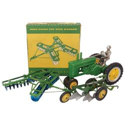 Farm toys (3), John Deere w/driver (repaired), JD disk harrow w/box, John Deere 2-bottom plow w/JCH