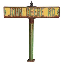 John Deere Rd. double-sided street sign on pole, quite possible from John Deere Corporate headquarte