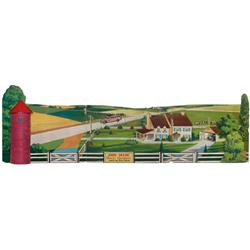 John Deere Quality Equipment tri-fold dealer display, diecut cdbd w/easel back, 3-dimentional farm s