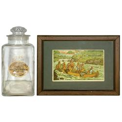 Drug store display jar & trade card, Chamberlain's Tablets counter jar, large glass jar w/glass lid,
