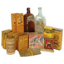 Drug store medicines, tobacco items & stove wicks (17 items), includes (4) Dr. Caldwell's & Black-Dr