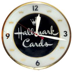 "Hallmark Cards clock, electric light up, Exc working cond, 15""Dia."