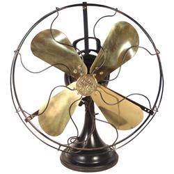 "Fan, General Electric 3 speed w/brass blades, Type AOU, Exc cond, 21""H."