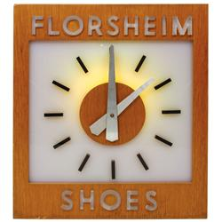 "Florsheim Shoes clock, electric, wood & Lucite, VG working cond, 18""H x 16""W."