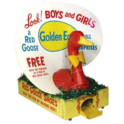 Red Goose Shoes Egg Laying Display, new old stock papier-mâché goose in orig shipping box, complete