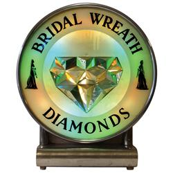 "Bridal Wreath Diamonds neon sign, metal case w/yellow, green & blue neon, VG working cond, 19""H x 16"