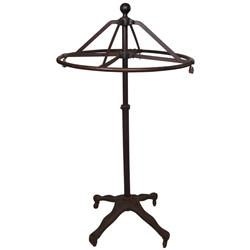 "Circular clothing store rack, cast iron w/revolving top, VG cond, 60""H x 32""Dia."