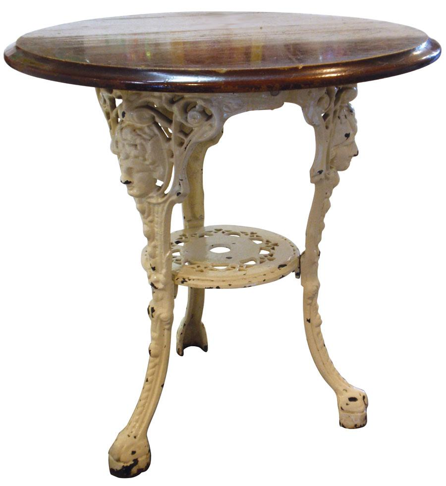 Awesome Drug Store Soda Fountain Table, Painted Fancy Cast Iron Base W/wood Top,.  Loading Zoom
