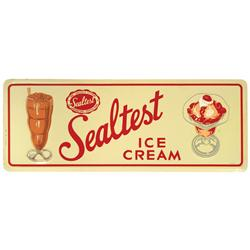 Sealtest Ice Cream sign, litho on embossed metal w/yummy ice cream soda & sundae graphics, c.1950's,