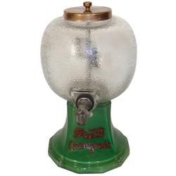 Syrup dispenser, Daggett's Orangeade, painted glass dispenser w/metal lid, Exc cond, 15 H.