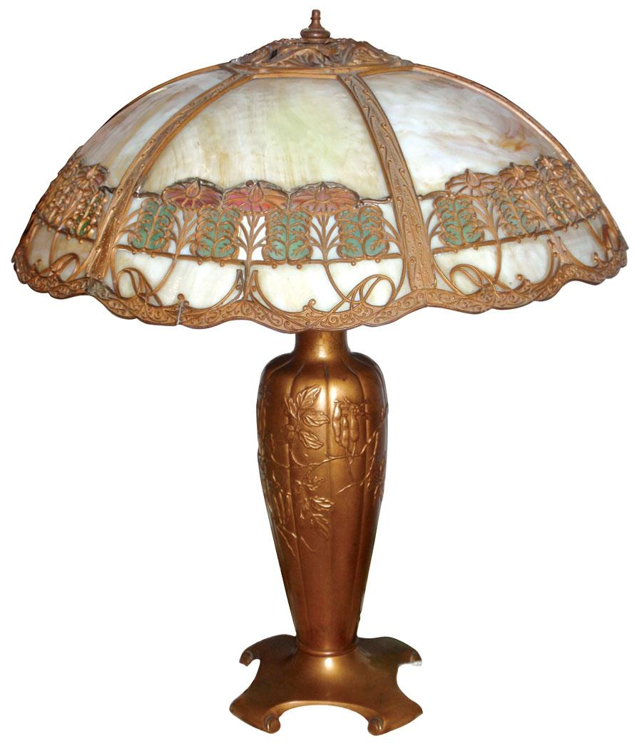 Victorian Table Lamp, 6 Bent Panels Of Caramel Slag Glass In Fancy Filigree  Frame,. Loading Zoom