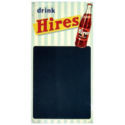 Hires Root Beer chalkboard w/bottle graphics, colorful litho on embossed metal in Exc cond, 30 H x 1