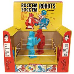 Toy Marx Rock'em Sock'em Robots in orig box, new old stock in Exc cond, 13 H x 19 W.