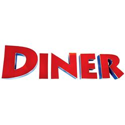 Diner sign, individual D-I-N-E-R oversized metal letters, a great sign that's sure to make a big sta