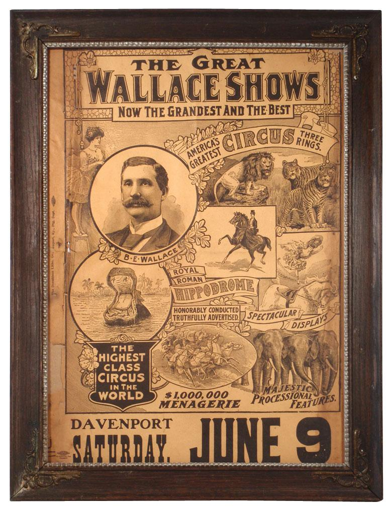 Circus poster, Wallace Shows-Davenport, IA, colorful litho ...