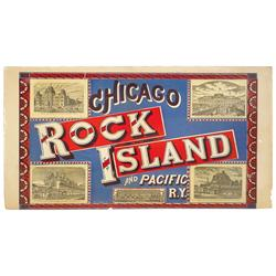 Chicago Rock Island & Pacific Railway litho on paper sign, vignettes of Council Bluffs, IA, Atchison