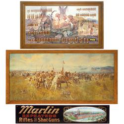 Spear bullet board, Marlin Repeaters, Rifles & Short Guns embossed metal sign (contemporary) & frame