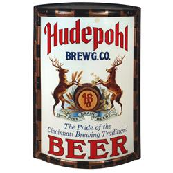 Breweriana, Hudepohl Brewing Co.-Cincinnati beer sign, contemporary curved plastic sign w/great stag
