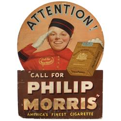 "Phillip Morris diecut cdbd easel back sign picturing Johnny, Good cond w/water stain at bottom, 42""H"