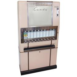 Coin-operated candy machine, National Vending Machine-Series 10C, floor model, 9/10 selections, Good