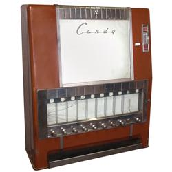 Coin-operated candy machine, National Vending Machine-Series 10C, wall mount or would sit on stand,