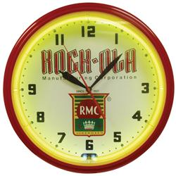 "Rock-Ola Jukebox neon clock, contemporary red plastic case w/yellow neon, Exc working cond, 22""Dia."