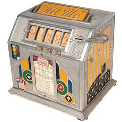 Coin-operated trade stimulator, Hit Me, Art Deco aluminum 5 reel machine w/gumball vendor, c.1930's,