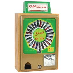 "Coin-operated vendor, Scripto Ball Point Pen, 25 Cent, full of old pens, Exc cond, 21""H x 12""W."