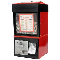 Coin-operated vending machine, Jar King Cherry Bell, mfgd by Victor, 25 Cent, 3 tickets per ball, wi