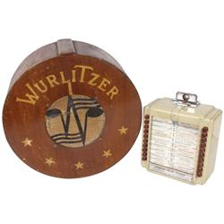 "Jukebox speaker & wall box (2), Seeburg Selector box, metal, VG cond, 11""H x 9""W & Wurlitzer wall sp"