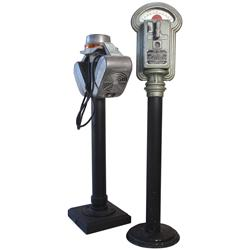 Drive-In speakers on lighted stand & parking meter, mfgd by Miller Meters Inc.-Chicago, both in VG c