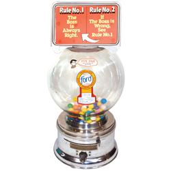 "Coin-operated gumball vendor, Ford w/marquee, chrome, Exc cond, 17""H."