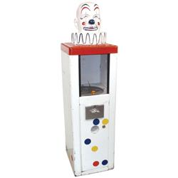 "Coin-operated vending machine, Clown, vends 25 Cent capsules, metal base w/composition head, 49""H x"