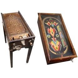 Pinball machines (2), both c. 1920-1930, Jiggers tabletop version, missing front door & plunger knob